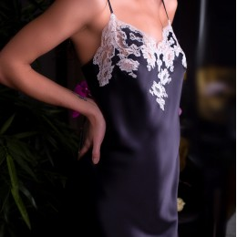 Marjolaine Silk Nightie Noir/perle