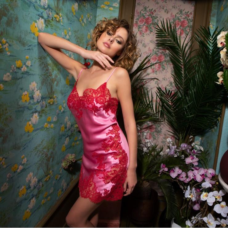 Marjolaine Gemma Silk Chemise  Pink/Red
