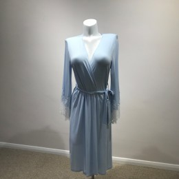 Coemi Dressing Gown with Lace Cuffs, Calm Blue