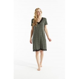Damella Olive Spot Sleeve Nightdress
