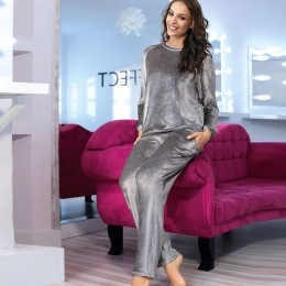 Coemi Lounge Suit, Silver grey Velour
