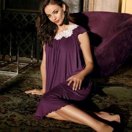 Coemi Nightdress, cap sleeve, Plum