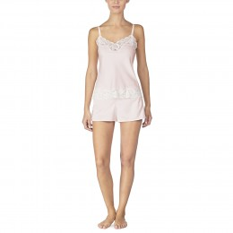Ralph Lauren Satin & Lace Cami Set. Pink & Ivory