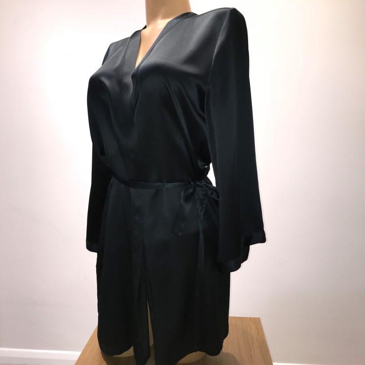 Marjolaine.  Short Silk Wrap. Black