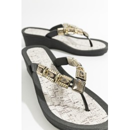 Piarossini Wedge Toe Post Sandals. Black and Gold.