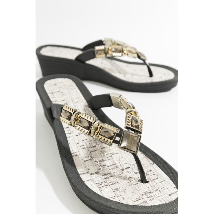 Piarossini Wedge Toe Post Sandals Black/Gold.