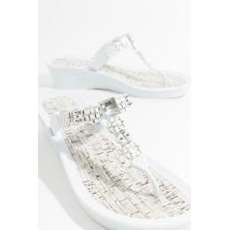 Piarossini Toe Post Sandals. Wedge. White/Silver