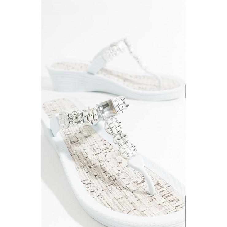 Piarossini Jael White wedge sandal