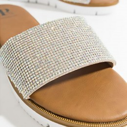 Piarossini Aisha Embellished Mule Sandal Silver