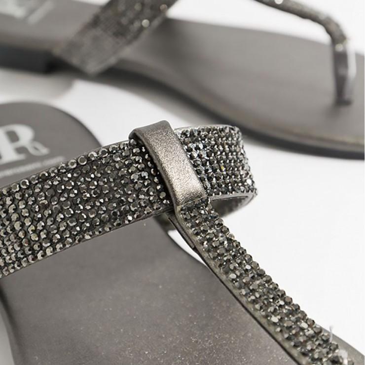Piarossini Shanaya Embellished Toe Post Sandal - Grey