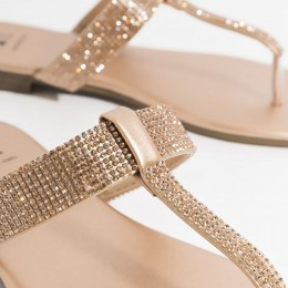 Piarossini Shanaya Embellished Toe Post Sandal - rose Gold