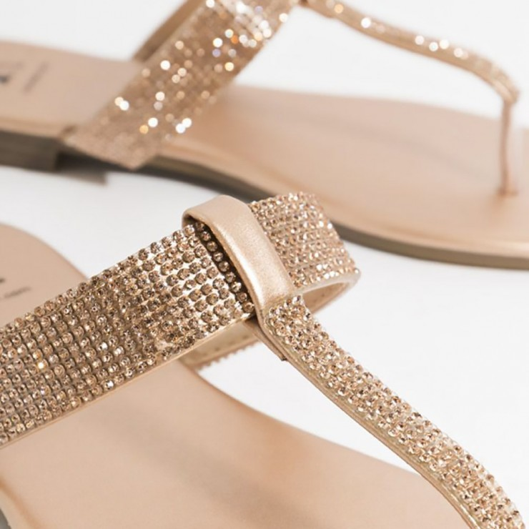 Piarossini Shanaya Embellished Toe Post Sandal - rose Gold