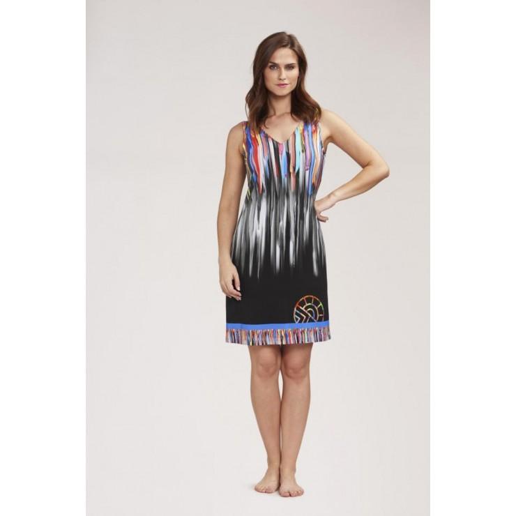 Feraud Beach Dress Multi/Black Sleeveless