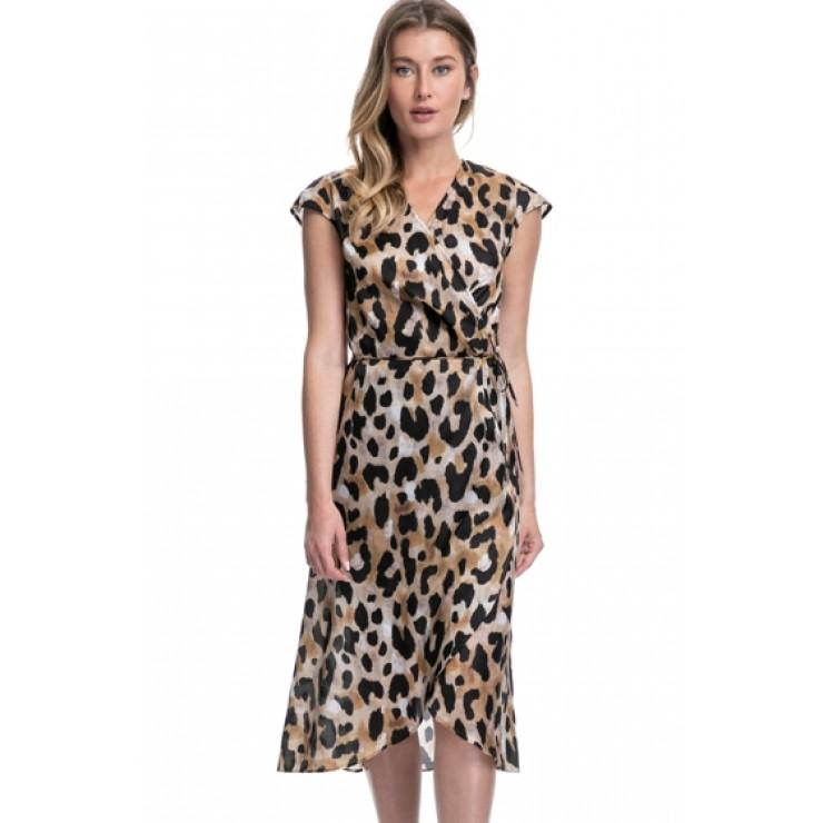 Gottex Kenya Animal Print Wrap Dress in Multi Brown
