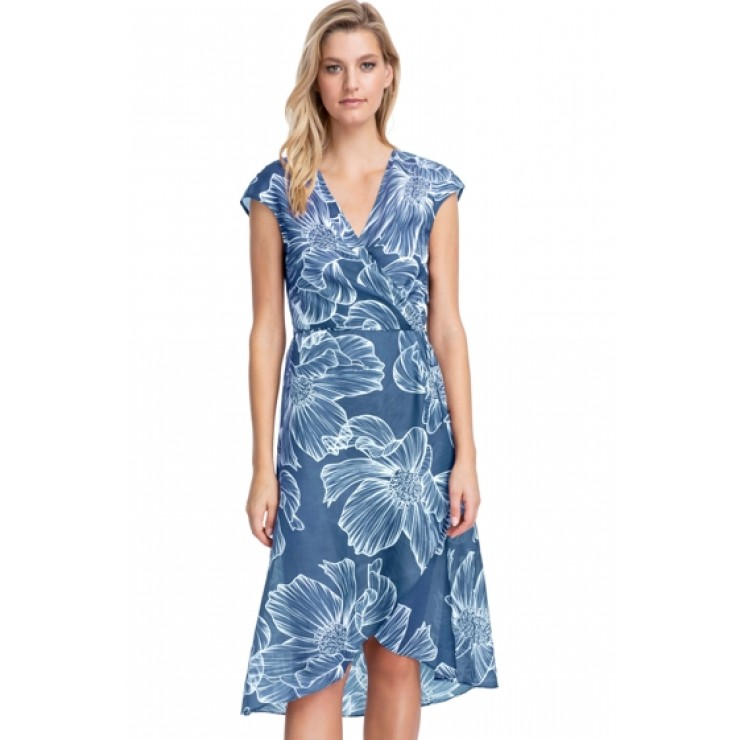 Gottex Lily Dusk Blue Wrap Beach Dress