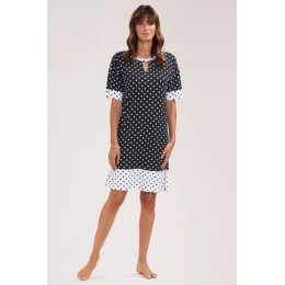 Rosch Beach/sun dress, black and white polka dot with sleeves