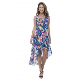 Gottex Bermuda Breeze, sheer fabric sleeveless dress. Multi