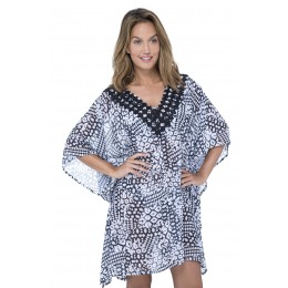 Gottex Tribal Batik Kaftan. Black & White