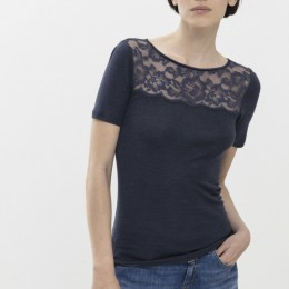 Mey Short Sleeve Wool & Lace Thermal Graphite