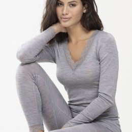 Mey Long Sleeve  Silk Touch Wool Thermal Grey
