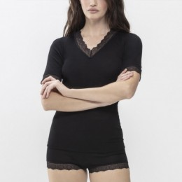 Mey Short Sleeve Silk Touch Wool Thermal Black